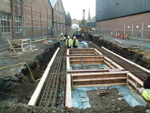 Tunnel channel through Sellers' yard. Photo: Costain Ltd.