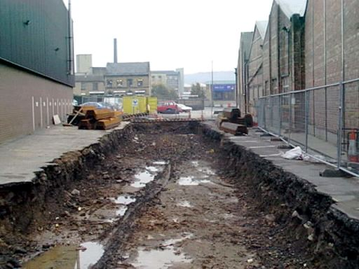 Digging new canal line in Sellers' yard