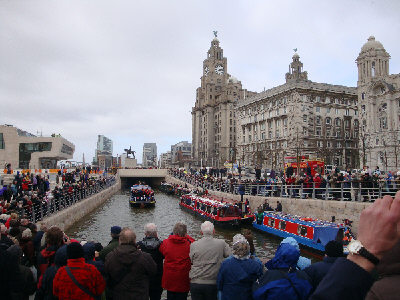 Huge crowds at the Pier Head.