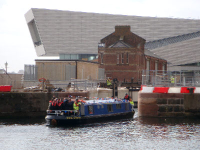 Emerging onto Canning Dock.