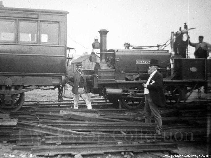 Daniel Adamson with railway loco - Photo courtesy of Mr J W Harrop