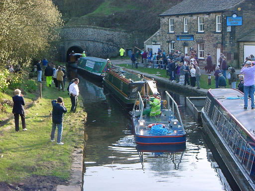 The first three boats to have been towed through Standedge Tunnel