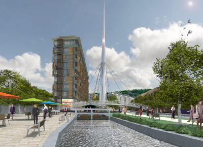 Artist Impression of Huddersfield Waterfront development - Picture: Ramsden and Colne Developments
